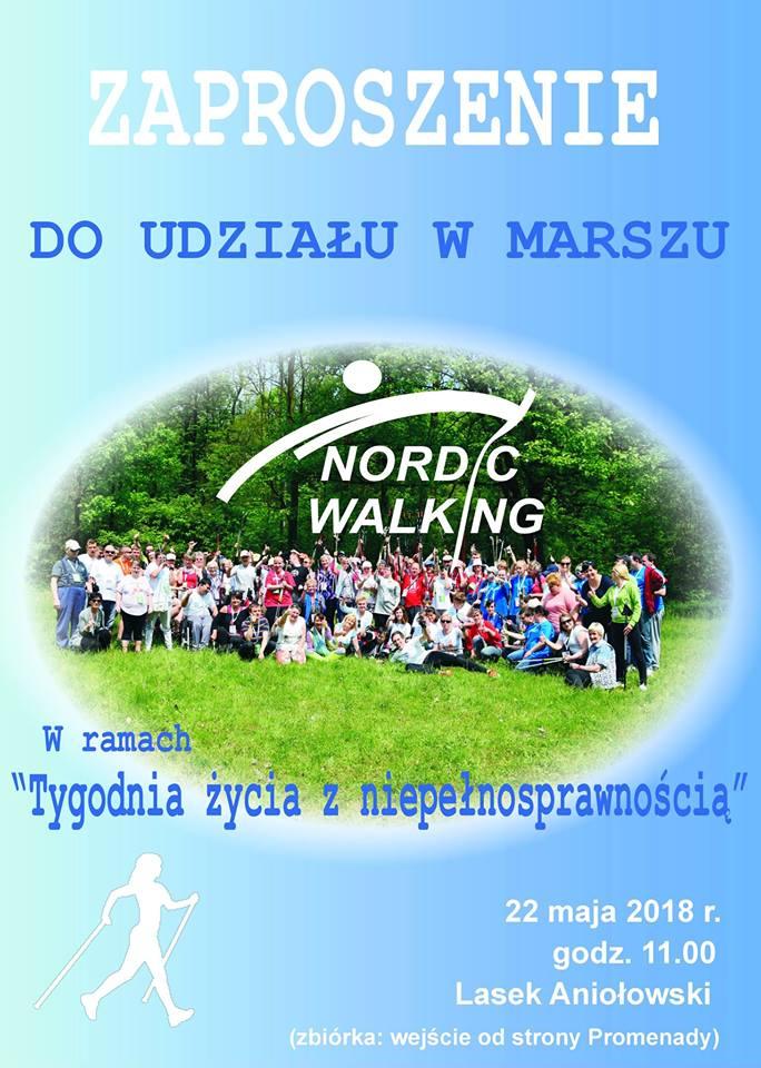 plakat zaproszenie na marsz nordic walking
